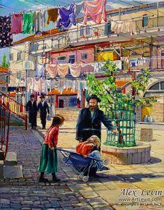 Beautiful painting Israeli Jewish life. Artist Alex Levine