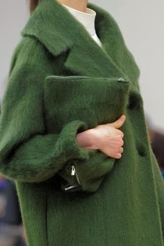 Celine Fall 2013 RTW Collection - or as I like to call it, the Oscar the Grouch jacket that looks absolutely like the coziest jacket on the planet.