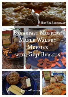 Breakfast muffin: Maple Walnut muffins with Goji Berries - Joybilee Farm @NowFoods @MadeInNature, @PacificFoods, @MapleValleyCoop