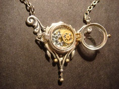 Unique Steampunk Locket Necklace with Watch Gears- Victorian Style