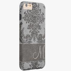 iPhone 6 Plus Cases | Vintage Damask Pattern with Monogram Tough iPhone 6 Plus Case