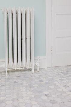 Bathroom Carrara Hexagon floor tile SEE ANGIE AT MARBLE SYSTEMS INC TO RECREATE THIS LOOK! 2737 DORR AVENUE FAIRFAX, VA