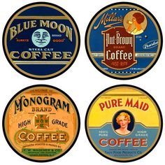 Tired of coffee mug rings on your wood furniture? The Vintage Coffee Coffee Labels Coasters are a great option to protect your table tops with a vintage, graphic style that touts your love of all thin Coffee Tasting, Coffee Drinks, Coffee Labels, Coffee Shops, Tea Labels, Coffee Maker, Food Labels, Coffee Type, Best Coffee