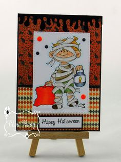 ONECRAZYSTAMPER.COM: Trick or Treating Mummy! by Cheri using High Hopes Stamps new release Mummy (SS008) & Simple Halloween (F235)