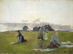 Drying clothes , At the Bleaching Place, Jæren - Harriet Backer , 1886 Norwegian, 53 x 72 cm Lund, Female Painters, Impressionist Paintings, Art Paintings, Art Impressions, Lost Art, Contemporary Paintings, Art Forms, Female Art