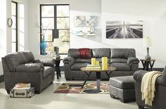 Bladen Slate Sofa & Loveseat Set by Signature Design by Ashley. Shades of Grey in the living room. Brought to you by FurnitureQueen.com in Katy, Texas.
