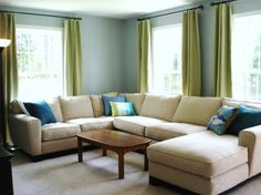 Living Room with Blue Color: A new blue living room
