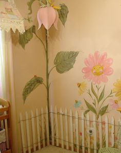 Baby girl nursery, love flower garden decor! Cute nursery mural for an enchanted garden