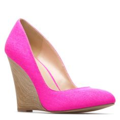 Shoe Dazzle neon pink wedges