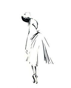 Ballerina Drawing Art Print, Minimalist Art, Black and White Drawing, Ballet Dance Modern Art