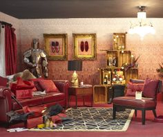 Red decorative living room by Laurence Llewelyn-Bowen - designed for the Ideal Home Show at Christmas.