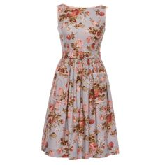 """Rose-print sleeveless summer dress with patch pockets by Lena Hoschek """"Maggie Dress lavender roses"""" Ribbon Skirts, Lavender Roses, Tutti Frutti, Gathered Skirt, Easter Dress, Rose Dress, Piece Of Clothing, Printed Cotton, Couture"""