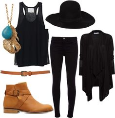 Black outfit with camel accent pieces. With moccasins instead. Minus the hat