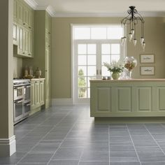 Kitchen. Captivating Kitchen Decorating Ideas With Soft Green Cabinetry And Creamy Wall Palette Also Seamless Subway Tiles Floor In Grey Accent Ideas. Awesome Modern Kitchen Floor Tiles Gives More Perfect Touch