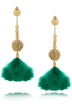 AURÉLIE BIDERMANN  Cités d'Or 18-karat gold-plated feather clip earrings
