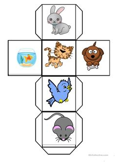 This dice is about some of the PETS, you can cut it out and stick to make. Farm Animals Preschool, Numbers Preschool, Free Preschool, Preschool Worksheets, Preschool Crafts, Printable Worksheets, Animal Worksheets, Animal Activities, Teaching Activities