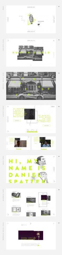 Daniel Spatzek Portfolio 2017 --- Es interesante la diagramación y la superposición de los elementos, el uso del color y misceláneas, la ocupación del campo visual.