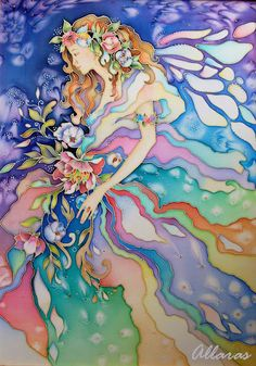Silk paintong of fairy