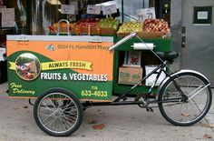 Permaculture & Regenerative Design News: Work Bikes for a Low-Energy Future Caravan Shop, Vegetable Delivery, Mobile Food Cart, Work Trailer, Mobile Business, Cargo Bike, Farm Stand, Old Bikes, Fresh Fruits And Vegetables