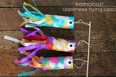 Boy's day in Japan, and they celebrate it with large carp windsocks flying in the wind. Each carp signifying a boy in the family. How very interesting and what a wonderful tradition! Girls, don't worry, they celebrate your special day in March! ;-) Make your own mini version of Koinobori DIY Japanese flying carp @ http://squirrellyminds.com/2013/05/03/koinobori-japanese-flying-carp-diy/