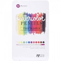 AKVARELLBLYANTER - PRIMA WATERCOLOR PENCIL - THE BASICS Metallskrin med 12 akvarellblyanter fra PRIMA MARKETING - MIXED MEDIA.Prima Marketing-Mixed Media Watercolor Pencils. Use them with a wet brush or dip the pencil in water and draw! This package contains twelve watercolor pencils within one 7-1/2x4-1/2x1/2 inch tin case. Comes in a variety of assorted colors. Each sold separately.