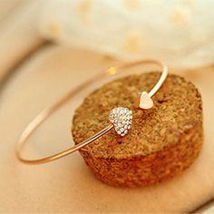 Di modo caldo di cristallo del cuore della pesca di amore di apertura placcato oro Rhinestone braccialetto braccialetti delle Donne S2