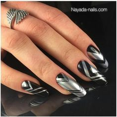 Beautiful Nail Designs To Finish Your Wardrobe – Your Beautiful Nails Silver Nail Designs, Colorful Nail Designs, Toe Nail Designs, Beautiful Nail Designs, Black Silver Nails, Black Acrylic Nails, Sexy Nails, Toe Nails, Fancy Nails