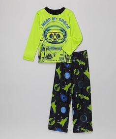 This Green & Navy 'I Need My Space' Pajama Set - Boys is perfect! #zulilyfinds