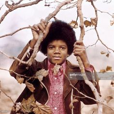 Photo of Michael JACKSON; Posed portrait of Michael Jackson in a tree
