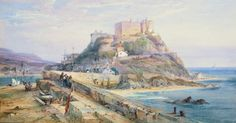 Mont Orgueil castle, Gorey, Jersey, watercolour and gouache, by RP Leitch. 14th Century, Historian, Middle Ages, World, Illustration, Gouache, Painting, Outdoor, Castles