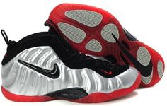 Nike Air Foamposite Pro METALLIC SILVER BRIGHT CRIMSON