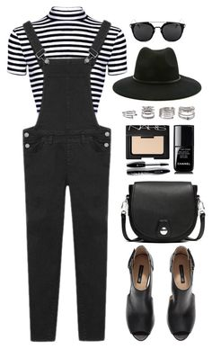 """""""Overall Style"""" by genuine-people ❤ liked on Polyvore featuring H&M, rag & bone, Forever 21, Lancôme, NARS Cosmetics, Chanel, black, stripes and overall"""