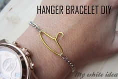 This would make a cute necklace for a fashionista. HANGER BRACELET DIY | MY WHITE IDEA DIY