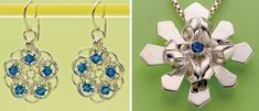 Chain Maille Earrings by Lauren Anderson and Metal Snowflake Pendant by Debra Hoffmaster - from No Two Alike: Make Snowflake Ornaments and Jewelry with Wire, Metal, Gems, Even Scraps! - Jewelry Making Daily