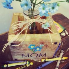 Mothers Day upcycled wooden box, ideal for flowers or other keepsakes, perfect for mom