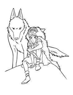 Princess Mononoke coloring page