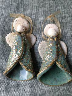 Pottery Angel Ornaments by Karen Lucid:
