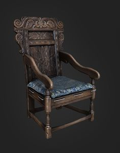 Medieval chair, Leonid Kuzyakin on ArtStation at https://www.artstation.com/artwork/medieval-chair