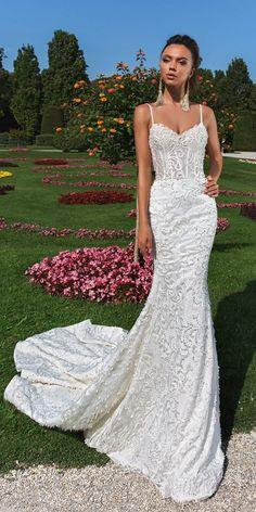 crystal design 2018 wedding dresses mermaid lace sweetheart neckline spaghetti straps style effie #laceweddingdresses