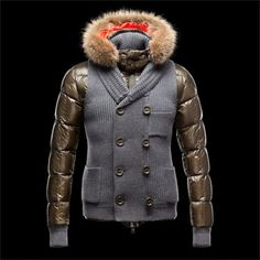 Stock lot wholesale fur collar coats brown winter down jacket new fashion  2014 branded men s clothing proveedor china. dmchine · Doudoune Moncler  Homme 9123de5df22