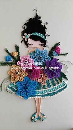 Quilled young girl - quillingtablo                                                                                                                                                      More