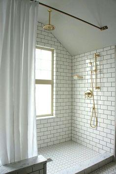 Lovely Vintage Bathroom Tile Patterns Ideas For Your Excellent Bathroom Interior With White Subway Tile Bathroom Shower Black Grout Bad Inspiration, Bathroom Inspiration, Bathroom Ideas, Bathroom Designs, Shower Ideas, Bathroom Remodeling, Bathroom Trends, Bathroom Inspo, Bathroom Styling