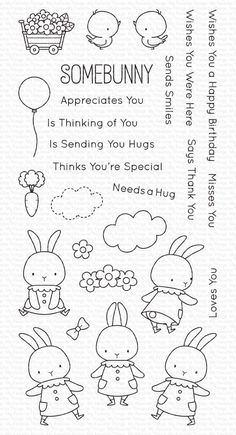 Embroidery Patterns, Hand Embroidery, Somebunny Loves You, Doodles, Flower Cart, Easter Projects, Mft Stamps, Digital Stamps, Clear Stamps