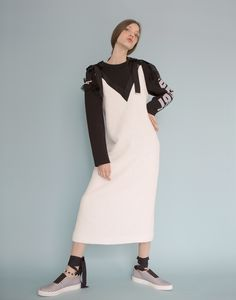 Mother of Pearl collection - styled by Monique Delapierre and shot by Piot Marzec Sustainable Clothing, Best Model, Contemporary Fashion, Cold Shoulder Dress, Women Wear, Normcore, High Neck Dress, London, Pearls