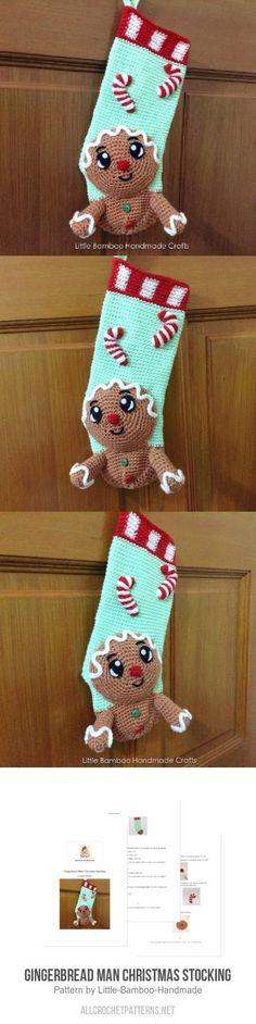 Gingerbread Man Christmas Stocking crochet pattern