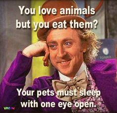You love animals but you eat them..? | Torro #vegan #vegetarian #veganmeme