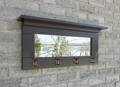 Wall Mirror With Hooks rustic wall mirror with shelf for hallway or bathroom | shelves