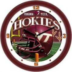 Virginia Tech VT Hokies Glass Wall Clock