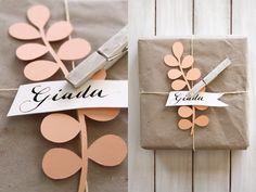 paper flower on plain paper gift