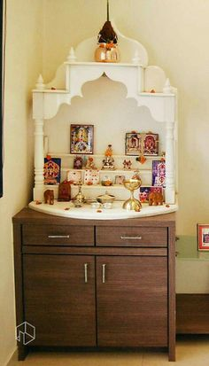 Dress Room Decor Wardrobes Ideas Source by room ideas Indian Bedroom Decor, Indian Home Decor, Temple Design For Home, Meditation Room Decor, Mandir Design, Pooja Room Door Design, Room Partition Designs, Living Room Decor Inspiration, Puja Room